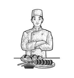 Sushi chef sketch vector