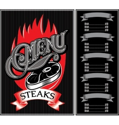 template for menu of steaks grill barbecue vector image