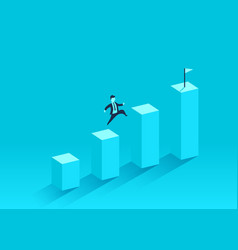 the businessman runs to the top of the financial vector image