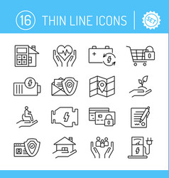 thin line editable stroke icons set vector image
