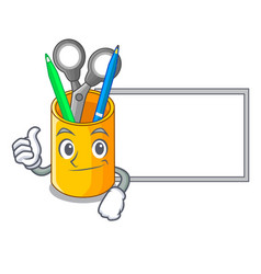 thumbs up with board organizer desktop top view vector image