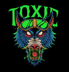 Toxic wolf head vector