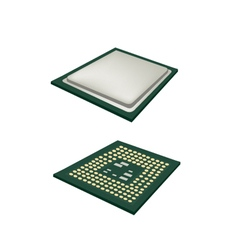 Two computer cpu chip on white background vector