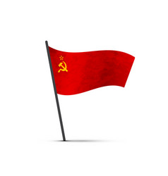 ussr flag on pole infographic element on white vector image