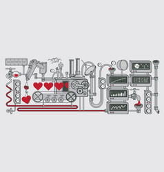 Valentines day card with decorative factory of vector