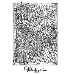 Vertical garden in a line art style vector