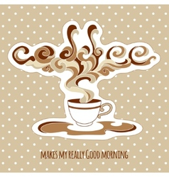 Vintage cup of coffee with ornate steam and title vector image