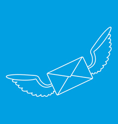 Winged mail envelope icon outline style vector