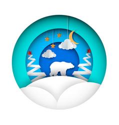 winter bear - paper cloud moon vector image