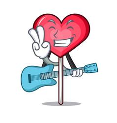 With guitar heart lollipop mascot cartoon vector