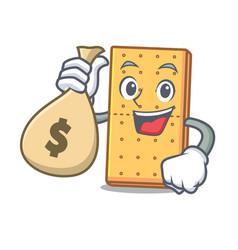 With money bag graham cookies character cartoon vector