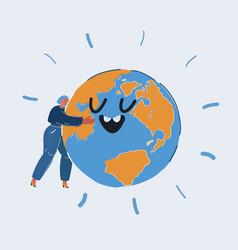 woman embracing earth globe vector image