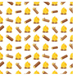 wood logs and bonfires seamless pattern vector image