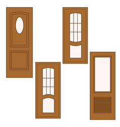 wooden door with classic design vector image