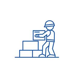 worker builder taking bricks line icon concept vector image