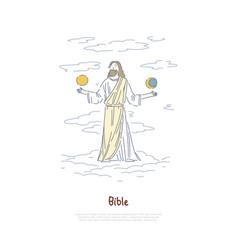 world creation myth god holding sun and moon vector image