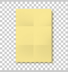 Yellow folded paper page blank mockup vector