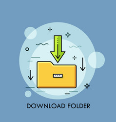 yellow paper folder and green arrow pointing vector image