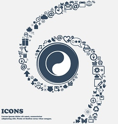 Yin Yang icon sign in the center Around the many vector image