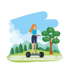 Young woman in folding e-scooter on landscape vector