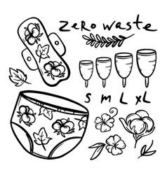 zero waste feminine hygiene hand drawn illu vector image