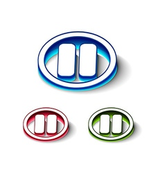 3d glossy playpuase icon vector image vector image