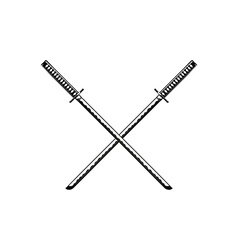 Crossed Samurai Swords isolated on white vector image