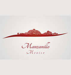 manzanillo skyline in red vector image