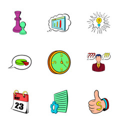Office work icons set cartoon style vector