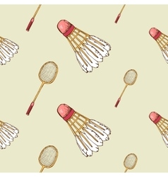 Pattern with shuttlecock and badminton racket vector image
