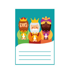 three kings of orient letter epiphany vector image vector image