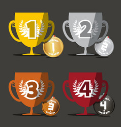 winning cups medals set vector image