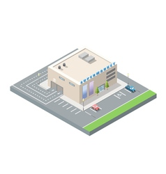 isometric supermarket with car parking vector image