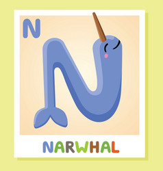 n is for narwhal letter n narwhal cute vector image