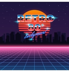 Retro neon abstract Sci-Fi background in vector image