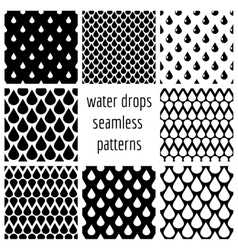 Set of water drops seamless patterns in vector image