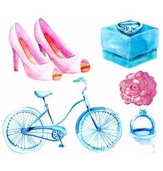 Watercolor Wedding elements collection vector image vector image