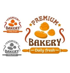 Bakery shop sign with buns and rolling pin vector image