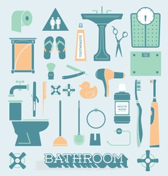 Bathroom Icons and Silhouettes vector image vector image