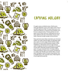 Hand drawn decoration with camping holiday vector
