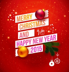 Red traditional Christmas card 2015 Typography vector image vector image