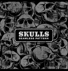 seamless pattern with grunge skulls vector image