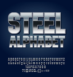 set of silver alphabet letters vector image