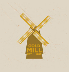 Vintage emblem of a handmade mill in retro style vector