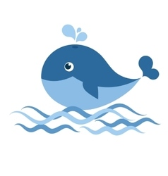 whale on the waves vector image