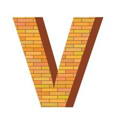brick letter V vector image vector image