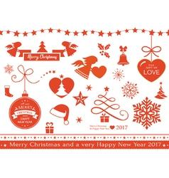 Flat Christmas icons symbols vector image vector image