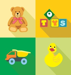 Kids toys icons set in outlines digital image vector