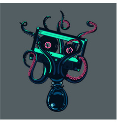 octopus is holding a stereo cassette in tentacles vector image vector image