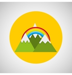 snowy mountains rainbow weather concept design vector image vector image